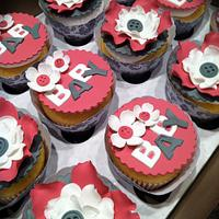 Raspberry and gray baby shower cupcakes