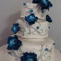 Blue roses and silver twirls