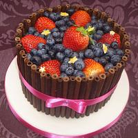 Chocolate and fresh fruit cake