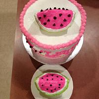 Watermelon theme cake by Beverly Coleman