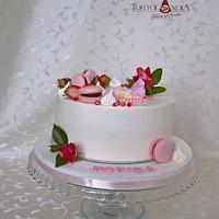 Creame christening cake