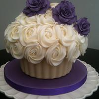 Giant Cupcake with purple roses