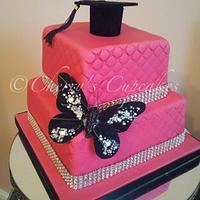 Hot Pink Graduation Cake