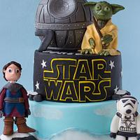 Star Wars cake with Death star and Yoda