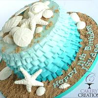 Ruffle ombre beach cake, cookies and pops