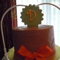 Chocolate, Green and Orange Bridal Shower Cupcake Tower
