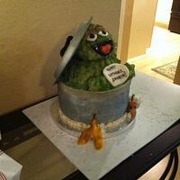 Oscar the Grouch Cake! by Kelle's Cakes
