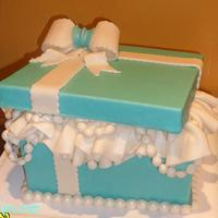 A Tiffany box themed cake for a Bridal shower