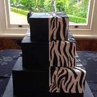Zebra/Tuxedo Wedding Cake