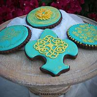 Teal & Yellow Baroque Cookies