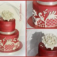 Peony on red! by Karen Dodenbier