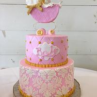 Shabby chic girl baby shower cake