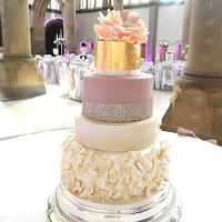Gold Leaf Peony Rose & Vintage Lace Wedding Cake