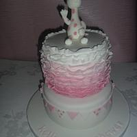 Frilly pink baby shower cake