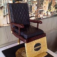 Vintage Barber's Chair Groom's Cake