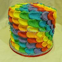 Rainbow petal layer cake
