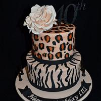 zebra and leopard cake