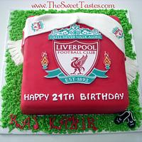 Liverpool soccer badge cake