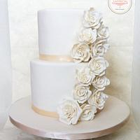 Ivory rose cascade cake