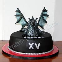 Hand Sculpted Dragon cake