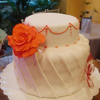 pleated wedding cake