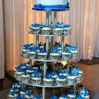 Blue Orchid Wedding Cupcake Tower