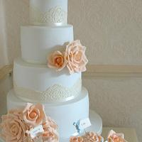 Duck egg and peach wedding cake