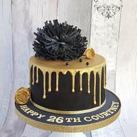 Black drip cake.
