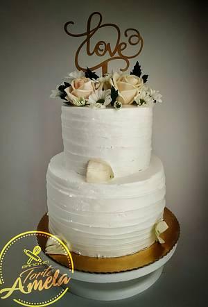 Beautifull white wedding cake - Cake by Torte Amela