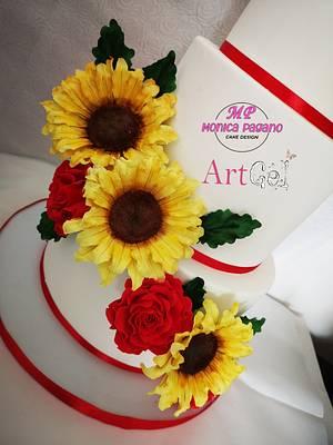 Laurea girasoli e rose  - Cake by CakeMonica