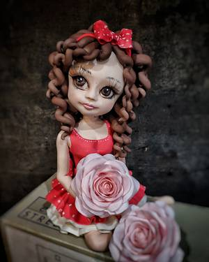 Girl with rose topper - Cake by Ako cukor sladká