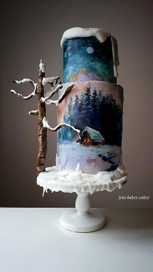 Painted winter cake - Cake by Jens bakey cakey