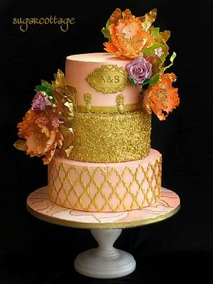 Peach and gold wedding cake - Cake by Sugar cottage by pooja