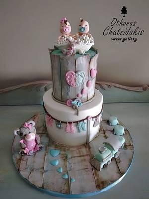 Twins baby shower cake - Cake by Othonas Chatzidakis