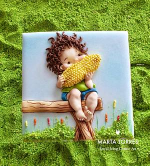 Corn boy..... Learning social distance! - Cake by The Cookie Lab  by Marta Torres