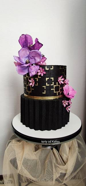 Bday  origami black and gold - Cake by Kaliss