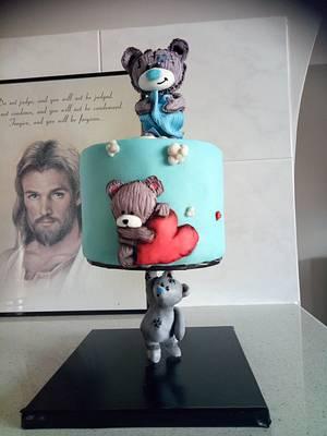 Gravity defying Tatty Teddy cake - Cake by Jewels Cakes