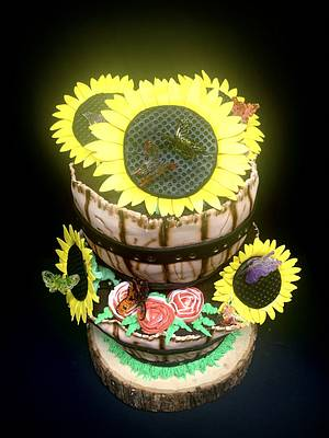 Butterflies and Sunflowers  - Cake by Sharp Sweets