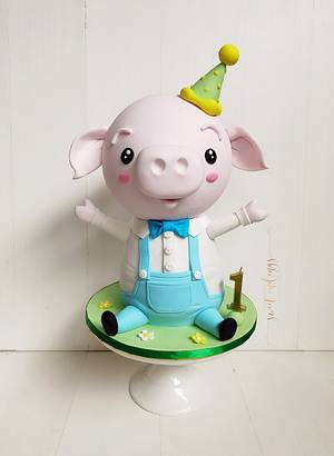 Little Piggy's 1st Birthday! - Cake by Lulu Goh