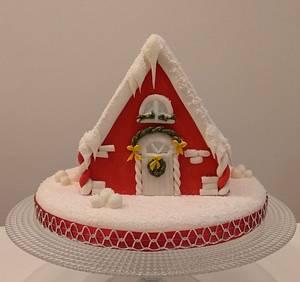 Red Christmas house cake - Cake by Clara