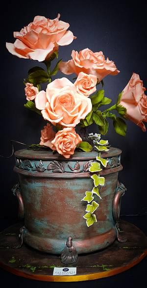Pot of roses cake - Cake by Paladarte El Salvador