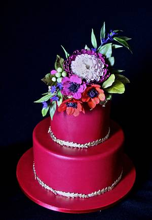 Red Floral Cake - Cake by Carol Pato