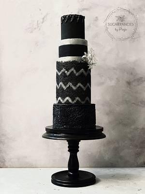 Chevron Sugarsheet Wedding Cake - Cake by SugarfanciesbyPooja