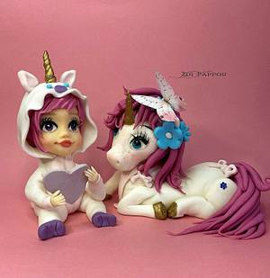 Baby girl and Unicorn cake toppers - Cake by Zoi Pappou