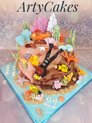 Scuba diving cake - Cake by Arty cakes