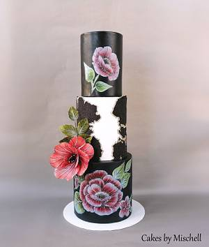 Black flower cake - Cake by Mischell