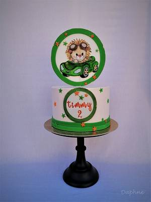 Little lion in the car 💚 - Cake by Daphne