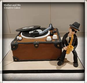 Record Player Sax Player cake - Cake by Mother and Me Creative Cakes