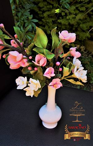 Spring sugar flower blossoms - Cake by Zlatina Lewis Cake Boutique