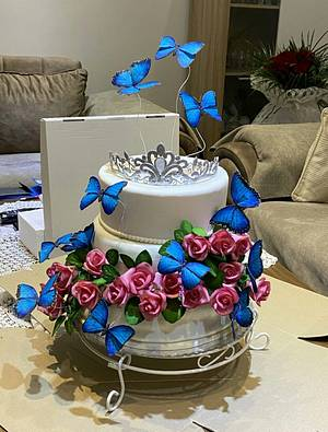 Butterflies and roses - 18th birthday cake - Cake by Snezana
